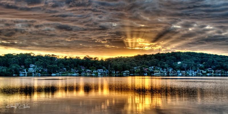 Golden Crepuscular sunrise . Art photo digital download and wallpaper screensaver. DIY Print.