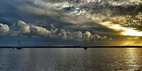 Stormy cloudy Sunset Seascape.