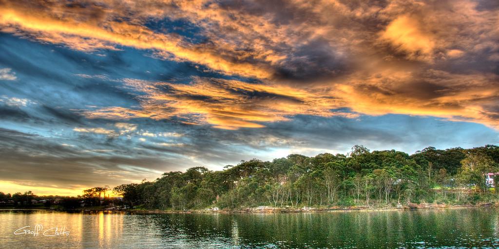"Fingers of Flame. Sunset Panorama. Art photo digital download and wallpaper screensaver.Diy Print (Format 1/2) Size eg. 8""x16"" or 20x41 cm."