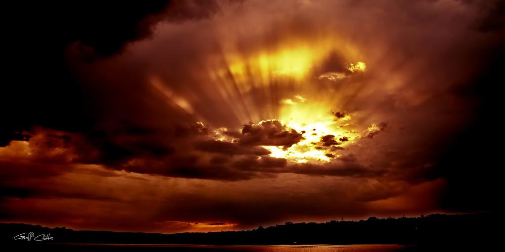 Striking Crepuscular Sunset. Art photo digital download and wallpaper screensaver. DIY Print.