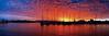 Crimson and Blue Sunset Panorama.  Art photo digital download and wallpaper screensaver. DIY Print.