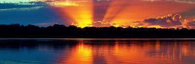 Orange Rays Sunrise Panorama.  Photo Art Download.