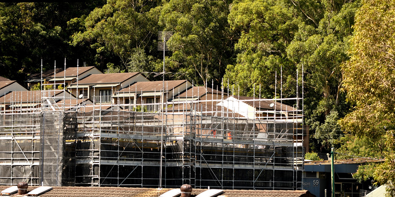 Construction progress on new building site. Gosford, Australia. March 9, 2021. 56-58 Beane St. Part of a series.