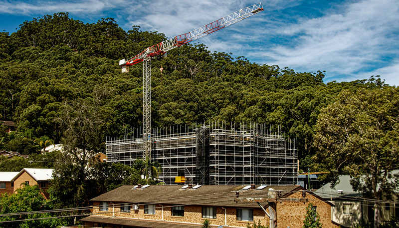 Construction progress on new building site. Gosford, Australia. March 27, 2021. 56-58 Beane St. Part of a series.