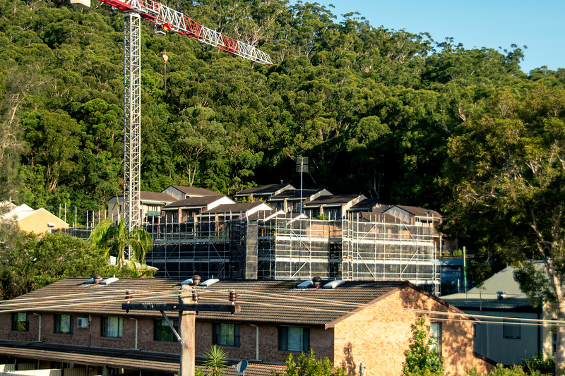 Construction progress on new building site vewed from the western side. Gosford, Australia. March 7, 2021. 56-58 Beane St. Part of a series.