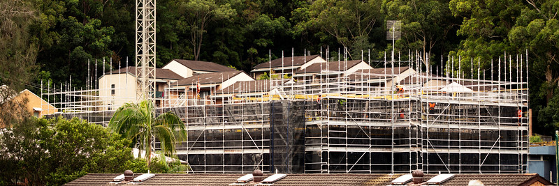 Construction progress on new building site. Gosford, Australia. March 10, 2021. 56-58 Beane St. Part of a series.