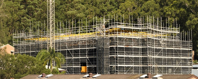 Panoramic image of new building site progress. Gosford, Australia. March 25, 2021. 56-58 Beane St. Part of a series.