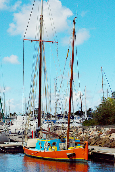 Historical vintage old style sailing boat