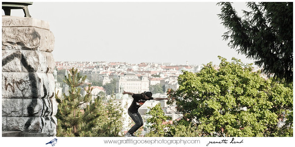 Skateboarders over Prague