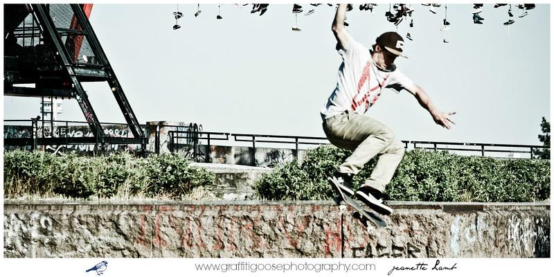 Skateboarders over Prague