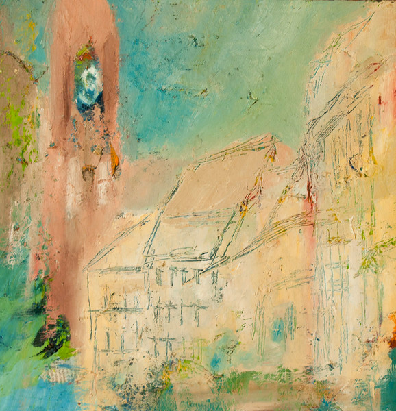 Neighborhood Church Oil & Paper on Canvas 2006
