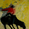 Cowboy on Bull <br /> Oil on Canvas <br /> 2009