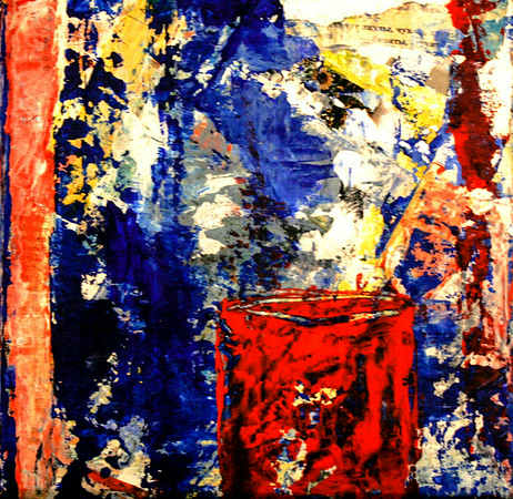 Red Coffee Cup I 2010  Oil & Paper on Canvas