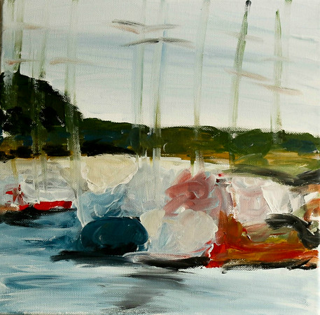 Boats on Cospudner See 2013  Acrylic on canvas