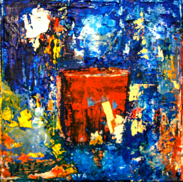 Red Coffee Cup<br /> 2010<br /> Oil & Paper on Canvas