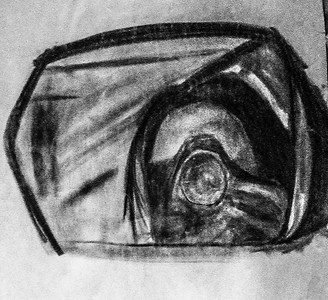 Self Portrait -- 1998<br /> Charcoal on Paper
