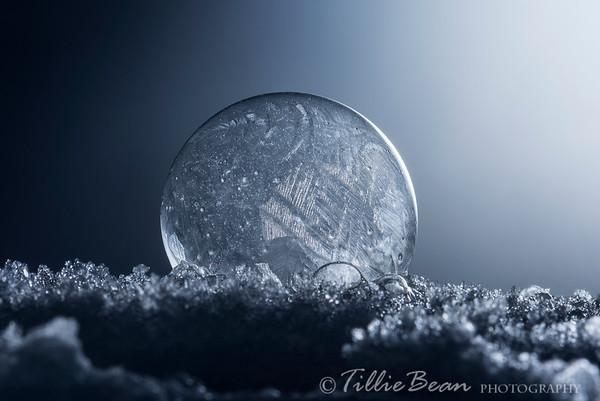 Frozen Soap Bubble caught on Snow