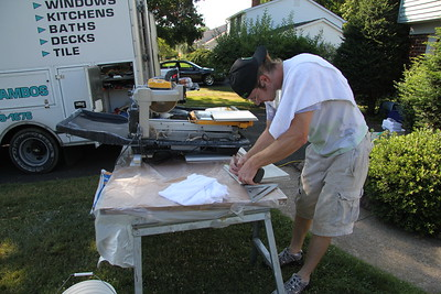 Craig preparing to cut