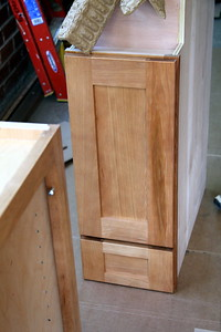 Hickory ginger Yorktowne cabinets -- several had flaws and will need to be returned and replaced.