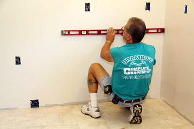 July 6th: Day 14  -- Measurements for installation of cabinets