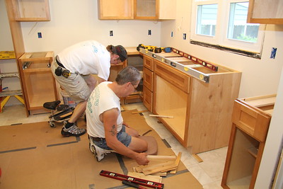 July 7: Day 15 -- Continuing cabinet installation -- the leveler was used constantly. Very exacting work.