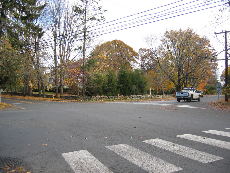 Middlesex Rd and Hollow Tree Ridge Rd Intersection, looking North and East,truck driving east