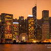 Skyscrapers of Hong Kong Island decorated with Christmas lights. Hong Kong, China.