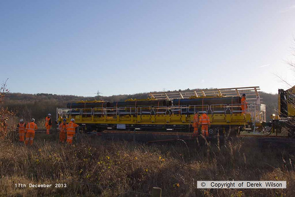2013, 17th December,  HOPS electrification train at Ollerton