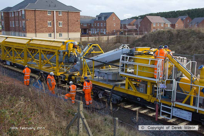 140210-049     The Hops electrification train at Ollerton, on the High Marnham Test Track, seen pumping concrete into the stanchion bases during commissioning trials and staff training with the concrete batching consist.