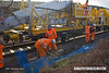 140210-050     The Hops electrification train at Ollerton, on the High Marnham Test Track, seen pumping concrete into the stanchion bases during commissioning trials and staff training with the concrete batching consist.