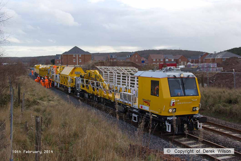 140210-042     The Hops electrification train at Ollerton, on the High Marnham Test Track, seen pumping concrete into the stanchion bases during commissioning trials and staff training with the concrete batching consist.