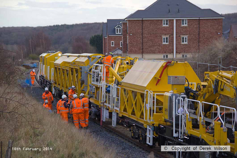 140210-041     The Hops electrification train at Ollerton, on the High Marnham Test Track, seen pumping concrete into the stanchion bases during commissioning trials and staff training with the concrete batching consist.