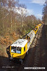 140227-006     The HOPS electrification train, seen near School Lane Ollerton, on the High Marnham Test Track. Nearest is the excavation consist, followed by the concrete batching consist which is busy concreting one of the stanchion bases.