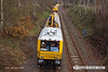 140227-001     The HOPS electrification train, seen near School Lane Ollerton, on the High Marnham Test Track. Nearest is the excavation consist, followed by the concrete batching consist which is busy concreting one of the stanchion bases.