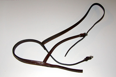 Brown leather English hunt bridle cavesson with stitching -- see next photo (#47) for sticthing detail -- $2.00
