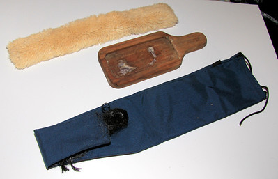 From top -- Fleece halter headstall tube -- 50 cents Wooden saddle soap holder -- 50 cents Blue nylon tail bag -- $1.50