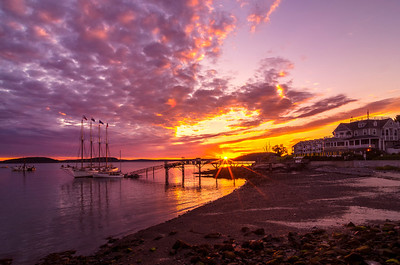 Sunrise Over Bar Harbor's beautiful Bar Harbor Motor Inn and the Margaret Todd.