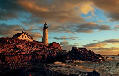 Dawn on Portland Head Light, Cape Elizabeth, Maine