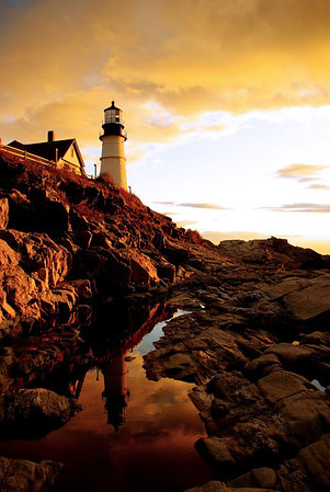Cool Reflections of Portland Head Light, Cape Elizabeth, Maine