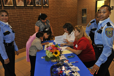 Reception table for the families of slain officers