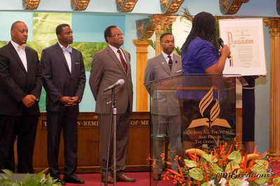 (L-R): Pastor Rohan Spencer, Pastor Bernard Penn, Elder Jeremiah Cox, Sr., Dr. Hugh Carrington