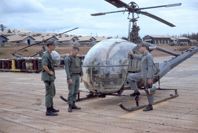 OH-23G, 1Lt. Fuller, Thomas Barnes Center, WO1 Stephen Lincoin.<br /> Division Arty Pad At Chu Lai (Ky Ha Heliport)