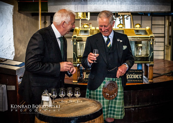 HRH Prince Charles with Mickie Heads in Ardbeg Distillery