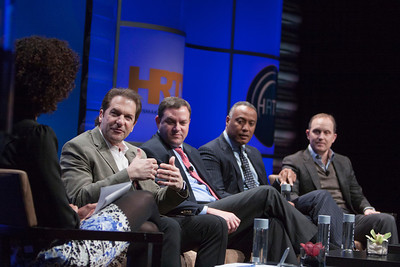 (From L to R): Sage Steele (ESPN Commentator | Host, NBA Countdown | Co-Host, SportsCenter), Peter Guber (Chairman & CEO, Mandalay Entertainment Group), Mark Lazarus (Chairman, NBC Sports Group), David Rone (President, Sports, News & Local Programming, Time Warner Cable) and Eric Shanks (President, COO & Executive Producer, FOX Sports)