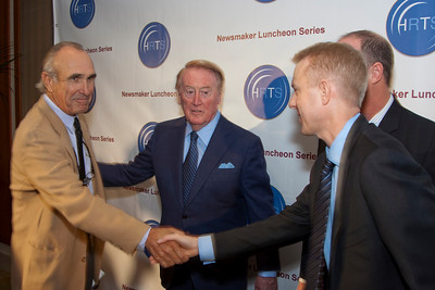 Ron Shelton (writer/director/producer), Vin Scully and Kevin Beggs (President of Lionsgate TV and HRTS).
