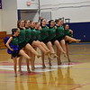GREG SUKIENNIK -- BENNINGTON BANNER<br /> Members of Colchester High School's dance team kick up their legs during a pom routine during competition at Mount Anthony Union High School on Jan. 19, 2018.