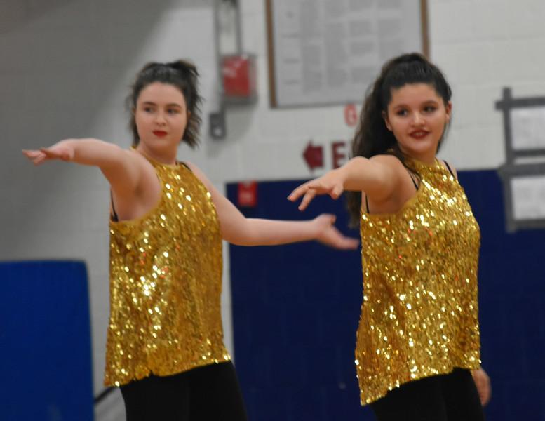 GREG SUKIENNIK -- BENNINGTON BANNER<br /> Burr and Burton Academy JV dance team members Shannon Hughes, left, and Sophia Berumen perform a jazz routine during a dance meet at Mount Anthony Union High School on Jan. 19, 2018