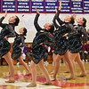 GREG SUKIENNIK -- BENNINGTON BANNER<br /> Members of Colchester High School's dance team strike a pose in the middle of their jazz routine during competition at Mount Anthony Union High School on Jan. 19, 2018. Colchester placed second in jazz.