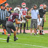 Ayer Shirley receiver Evan Howlett hauls in a pass in front of the South bench. Nashoba Valley Voice/Ed Niser