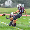 Ayer Shirley's James Robinson kicks a PAT during Saturday's win as Steven Lawton holds. Nashoba Valley Voice/Ed Niser